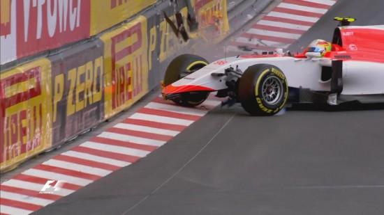 incidente Roberto Merhi FP2 Montecarlo
