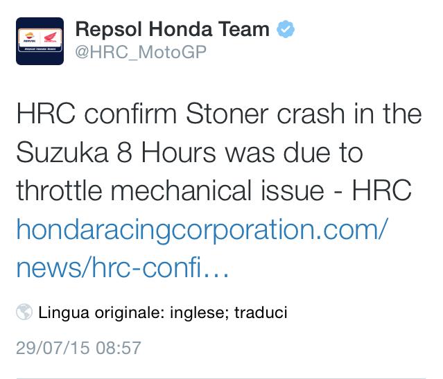 Honda ammette malfunzionamento acceleratore Casey Stoner crash 8H Suzuka
