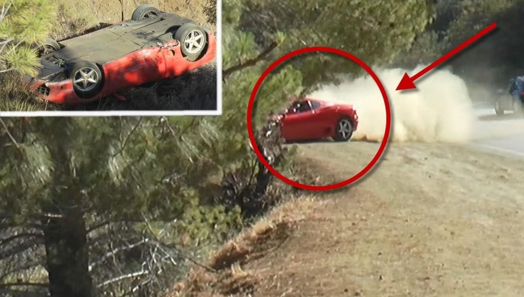 Ferrari 360 Modena si ribalta al Mulholland (VIDEO)