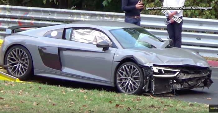 crash nürburgring 15.10-2016 audi r8 v10